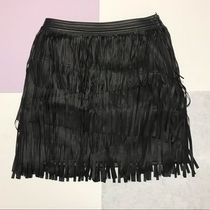 H&M NWT Vegan leather fringe mini skirt size 2